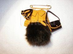 Bag Brooch Pin Felt Leather Fur Coat Fabric Flats por Finasita