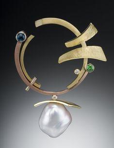 multi colored gold, pearl, appatite, tsavorite garnet, diamond