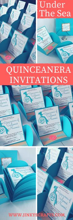 Under The Sea Pochette Easel Pop Up Invitations for Quinceanera. Can be customized as Sweet 16 Invitations, Baby Shower Invitations, Bridal Shower Invitations. Wedding Invitations