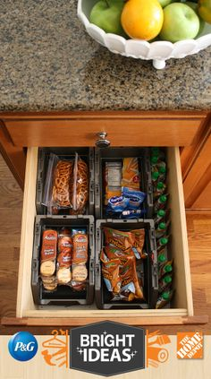 A Messy Spice Drawer Gets a New Life as a Snack Drawer #BrightIdeas #LetsDoThis