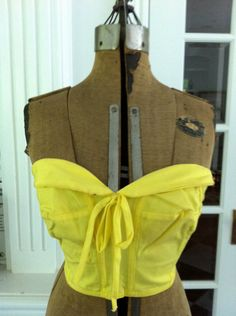 1950s strapless bustier in yellow $42