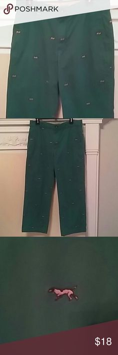 MEN'S IZOD SALTWATER DOG MOTIF GREEN PANTS VINTAGE 80's PREPPY IZOD SALTWATER DOG MOTIF GREEN STRAIGHT FIT PANTS. 32 X 30 GENTLY USED BUT GREAT CONDITION. 100 PERCENT COTTON. IZOD Pants Chinos & Khakis