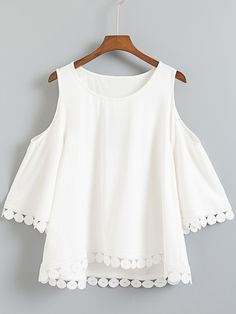 SheIn offers White Dip Hem Cold Shoulder Embroidery Blouse & more to fit your fashionable needs. Summer Outfits, Casual Outfits, Cute Outfits, Look Fashion, Fashion Outfits, Womens Fashion, Trendy Fashion, Latest Fashion, Fashion Online