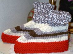 Knitting Pattern For Short Row Slippers - can also be done in one solid color or using multicolor yarn