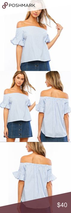 """Hi-Lo Soft Blue Striped Off the Shoulder Top ❤️ BUNDLES ❤️ DISCOUNTS ❌ NO TRADES ❌ NO Low balling!  • Light Weight • Hi-Lo  * MEASUREMENTS: • Small - Bust: 36.25"""" Approx (Around armpit) - Front Length: 21"""" Approx - Back Length: 25.5"""" Approx • • Medium - Bust: 38"""" Approx (Around armpit) - Front Length: 22"""" Approx - Back Length: 26"""" Approx • • Large - Bust: 41"""" Approx (Around armpit) - Front Length: 22.75"""" Approx - Back Length: 28"""" Approx  * MATERIAL: - 100% Cotton Tops"""