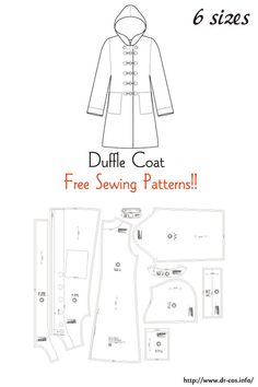 This is the pattern of a Duffle Coat. Free Printable Sewing Patterns, Barbie Sewing Patterns, Coat Pattern Sewing, Sewing Coat, Baby Clothes Patterns, Sewing Patterns For Kids, Coat Patterns, Free Sewing, Sewing Clothes