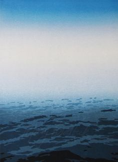 Mary Brodbeck. Presence through Absence- the Horizon on Lake Michigan. woodcut.