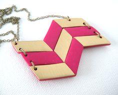 Geometric Chevron Polymer Clay Necklace Fuchsia :: AQuietCuriosity.etsy.com