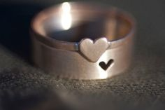 Matching Tiny Heart Couple Rings by Anilani on Etsy. Surprise for anniversary - maybe engrave initials or date you met on the inside