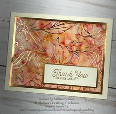 is the last day to get this gorgeous Springtime Foils DSP by Stampin' Up! This card is made with the Polished Stone Technique by Melissa Kerman @ Melissa's Crafting Treehouse. Colors Used: Daffodil Delight, Pumpkin Pie and Cherry Cobbler Reinkers Foil Paper, Paper Cards, Making Greeting Cards, Card Making Techniques, Scrapbooking, Card Tutorials, Flower Cards, Creative Cards, Homemade Cards