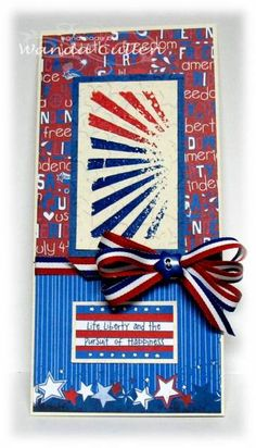 Red, White, Blue, using Tim Holtz stamp and Star embossing folder