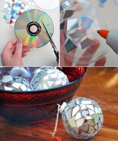 Mirror ball from old Cd's these would glisten so pretty in the tree lights!!