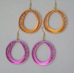 Quilling Earrings Metallic Orange or Magenta by BarbarasBeautys, $12.00