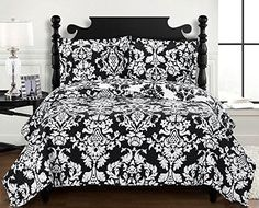 Black and White Damask Bedding Oversized Queen Bedspread Bed Cover Coverlet Set #HomeFashion #Modern