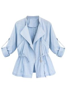 Shop Sky Blue Lapel Drawstring Waist Roll Up Sleeve Coat from choies.com .Free shipping Worldwide.$34.99