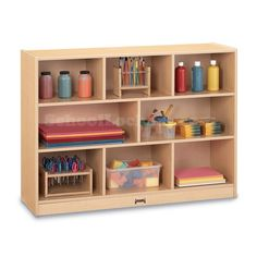 Kids Tall Maple Storage Cabinet: Perfect for storing supplies, books, games, toys and equipment!