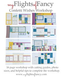 The Confetti Wishes workshop is now available! You will receive the cutting guide, photo sizes, and helpful tips on how to put this 16 page workshop together! You will have a single front and back ...