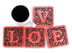 Wooden coasters (love theme)