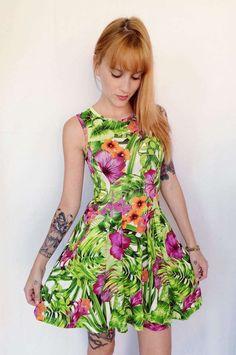 Vestido de malha floral