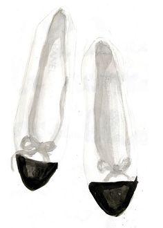 fashion illustration, white, Chanel ballet flats by Clare Owen Illustration Fashion Art, Fashion Shoes, Fashion Accessories, Fashion Design, Chanel Fashion, Spring Fashion, Chanel Art, Coco Chanel, Mademoiselle Coco