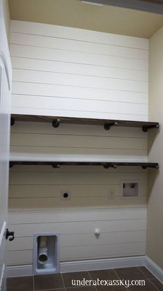 shiplap laundry room makeover, diy, laundry rooms, shelving ideas, wall decor, woodworking projects Pipe Shelving, Laundry Room Shelving, Iron Pipe Shelves, Laundry Room Tile, Room Shelves, Small Shelves, Shelving Ideas, Basement Laundry, Laundry Area