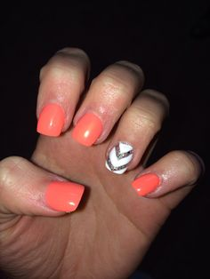 Chevron coral nails