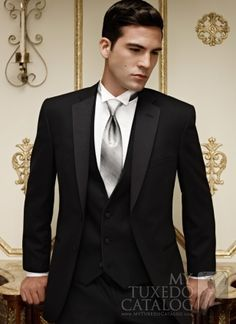 black tux with silver vest and tie - Google Search