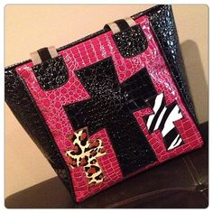 Fuschia And Black Triple cross tote. beautiful bags d6739b0a1ad4c