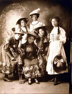 "The six young women in this posed portrait are identified as ""The Haymakers"". July 22, 1910."