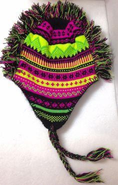 caba2f0910b0a BLACK NEON YELLOW PINK MOHAWK BEANIE Winter Knit Ski Hair Hat Peruvian  Geometric  Unbranded  Beanie  Skiing