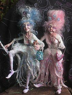 OOAK Doll  Duo Fantasy Sculpture - Gladrag Sisters, via Etsy.