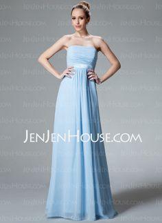 Bridesmaid Dresses - $118.99 - Empire Strapless Floor-Length Chiffon Charmeuse Bridesmaid Dress With Ruffle (007000840) http://jenjenhouse.com/Empire-Strapless-Floor-Length-Chiffon-Charmeuse-Bridesmaid-Dress-With-Ruffle-007000840-g840