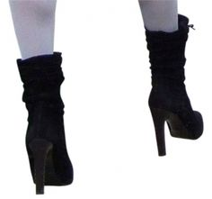 Gucci Ankle Short 8 Suede Black Heels Boots $399