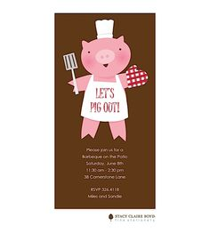 Let's Pig Out Invitation | Free Spirit Invitations