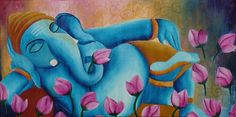 Matte Finish Painting - Original Colorful Bold Vibrant And Textured Sleeping Ganesha With Lotus Flowers Acrylic Painting by Mounika Narreddy Ganesha Drawing, Lord Ganesha Paintings, Ganesha Art, Krishna Painting, Ganesh Pic, Jai Ganesh, Shree Ganesh, Lotus Painting, Mural Painting