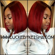 ❤Back to our regular scheduled wig life. :) Red is this seasons trend, for sure! Bob movement. Sleek, blunt cut, custom color.❤ - - Wig order: Full unit with lace closure, 12/12, custom colored burgundy, Bob cut. - - Visit www.luckebykeisha.com to place your order and for pricing details and estimates. - #LUCKEBYKEISHA #wigmaker #wigs #customwigs #virginhair #wig #laceclosure #protectivestyles #protectyourhair #boblife #REDHAIR #redbob #thecutlife @thecutlife #customwigs