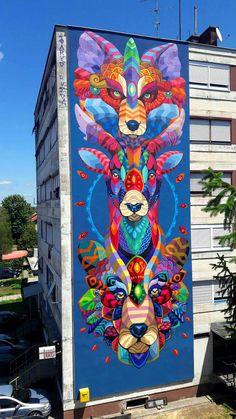 Street Art: Totem di Farid Rueda a Sisak (Croazia)