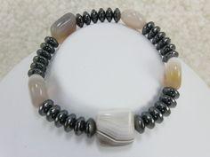 Hematite and Botswana Lace Agate Bracelet by NaturesJewelsByVina, $20.00
