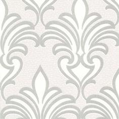 Arras Grey New Damask Wallpaper