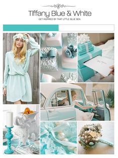 Tiffany blue and white inspiration board, color palette, mood board, wedding ideas