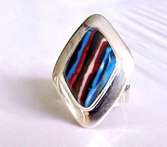 Large JAY KING DTR Sterling Silver Mine Finds Rainbow Calsilica Size 7 1/2 Ring #JayKing #Solitaire