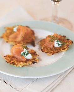 Potato Pancakes with Gravlax and Dill - Martha Stewart Recipes...I would like to try the pancakes alone as a side dish to my German pot roast.