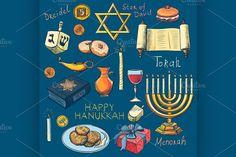 Hanukkah traditional jewish holiday by Netkoff on Creative Market - Hanukkah Feliz Hanukkah, Hanukkah Menorah, Happy Hanukkah, Hanukkah Traditions, Rosh Hashanah, Jewish Art, Star Of David, Torah, Candlesticks