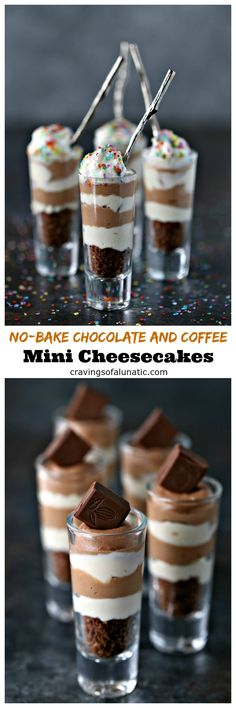 No-Bake Chocolate and Coffee Mini Cheesecakes from cravingsofalunatic.com- Nothing beats no-bake dessert, especially when it's made with layers of coffee and chocolate cheesecake. Even better when it's made with Bulletproof Coffee and Bulletproof protein bars. #sponsored #fuelyourawesome