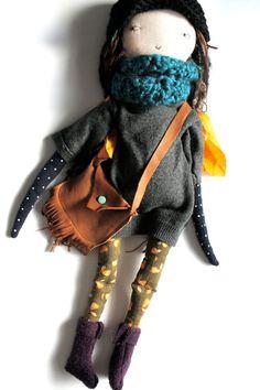 rag doll cloth doll handmade waldorf inspired stylish sweater dress wool hair