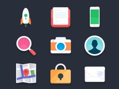 This set of 9 flat icons features padlock, map, camera, rocket, smartphone, mail, and search icons.