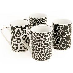 4pc Safari Mug Set This fun Safari mug set features four different animal prints, which will you choose? #patterns #zebra #black #white