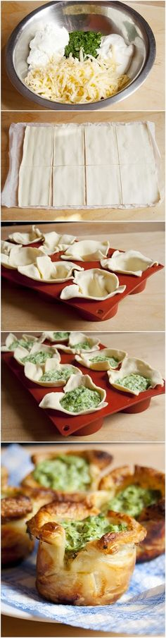 Puff Pastry Spinach Cups Recipe Ingredients 1 Storebought Puff Pastry 250 g Frozen Spinach 1 tbsp. Cream Cheese 3 garlic cloves 1 Cup Cheese, grated salt and Black Pepper to tast… Spinach Puff Pastry, Kisses Recipe, Vegetarian Recipes, Cooking Recipes, Pastry Recipes, Spinach Recipes, Frozen Spinach, Spinach Egg, Snacks Für Party