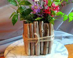LIMITED TIME 30% OFF Rectangular Driftwood Candle / Vase Centerpiece, Flower Vase, Wedding Centerpiece, Wood Candle Holder, Driftwood Decor