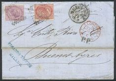 Italy, 25/FEB/1870 MILANO - ARGENTINA: folded cover franked by Sc.31+32 (Sa.20+21), sent to Buenos Aires via England, VF quality! Starting Price (11/2016): 80 EUR.